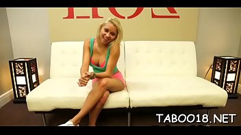 Enchanting blonde teen takes joy stroking hard shaft