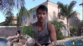 Muscly asian tugging cock
