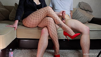 Hot Teacher In Fishnet And High Heels Femdom Handjob - Ruined Orgasm