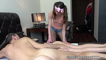 Naughty young babes suck old boys rock hard dick
