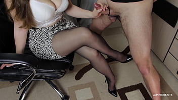 I Asked To Handjob Step Sister In Pantyhose - Teen Big Tits, Cum On Legs