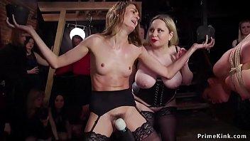 Big tits Milf fists brunette slave party