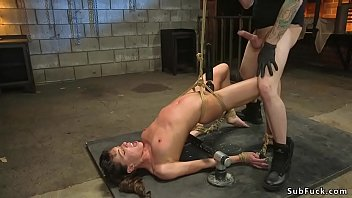 Brunette in bondage gets every hole fuck