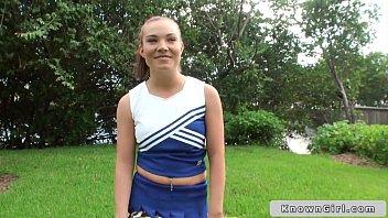 Busty cheerleader flashing boobs outdoor 8 min