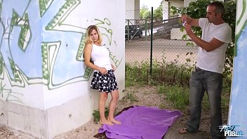 Blonde beauty fucked under the bridge by fake agent
