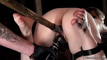 Dicks elbow support Slave strapped in device pussy toyed