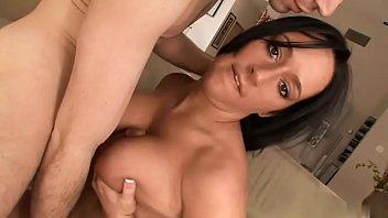 Ebony with bouncy tits gets hard fuck on the sofa