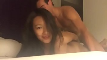 Asian with white male creampie