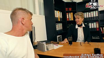 german mature female secretary seduces young man to have sex in the office