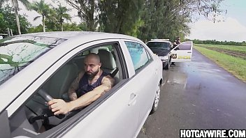 Cop get a surprise when he asked him to pull over - gay porn