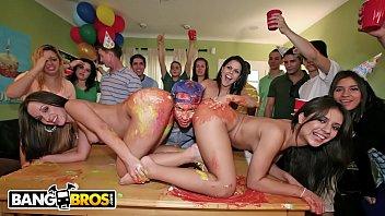 BANGBROS - Dorm Invasion Surprise Party With Diamond Kitty, Jynx Maze, and Jada Stevens