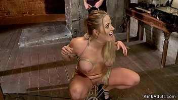 Bound blonde is fingered in chair