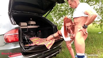 Babe Sloppy Blowjob Huge Cock Best Friend Husband and Rough Sex in the Car صورة