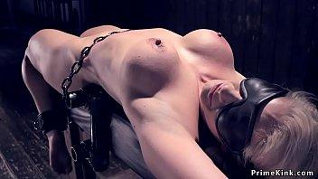 Blindfolded blonde sub is flogged