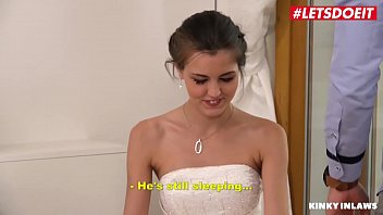 LETSDOEIT - Cheeky Bride Cindy Shine Bangs With Stepbro While Her Fresh Hubby s. Near By