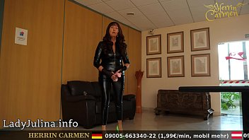 German Mature Catsuit Mistress Herrin Carmen Transformation into a cockless eunuch roleplay