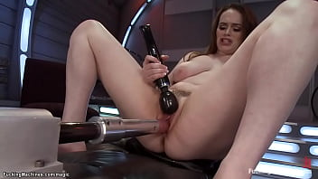 Natural busty babe machine fucked