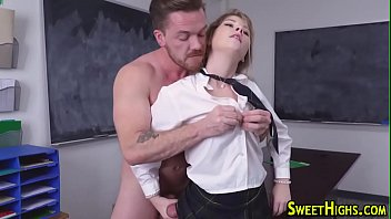 Teen in uniform riding dick