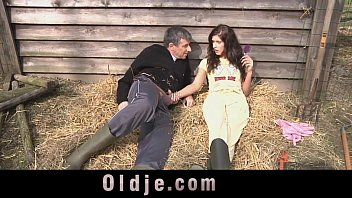 Sheep fuck farmer Slutty countryside girl sucking and fucking farmers dick