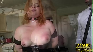 Tied up redhead throated and fucked roughly