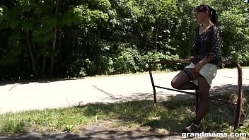 Skater boy gets harassed and fucked outdoors by grandma