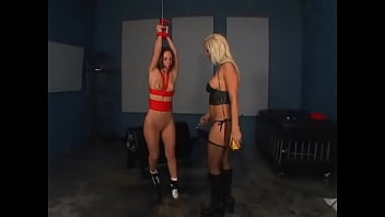 Gorgeous blonde in leather black lingerie loves to play BDSM games with her captive