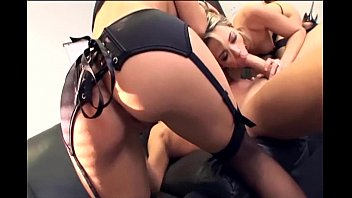 Threeway with secretaries in sexy black lingerie