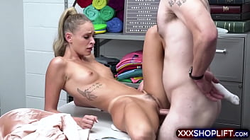 Cute blonde shoplifter Emma Hix is a liar and needs to be punished