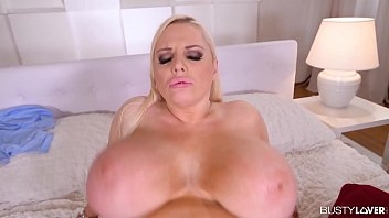 Busty babe Jordan Pryce is a horny housewife that titty fucks with her 32Fs