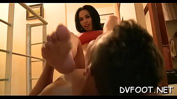 Alluring girl gets toes licked and bonks pussy with her foot