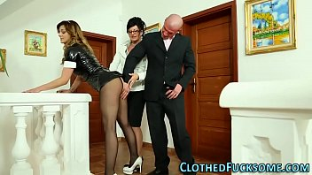 Euro clothed maid nailed