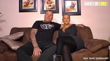 AMATEUR EURO - #Kira Hot - Big Tits German Wife Fucks Hard With Husband On Cam 14 min