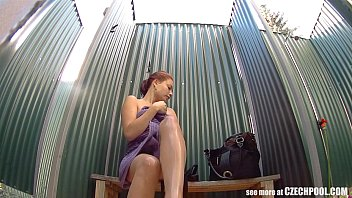 BUSTY GIRL Wearing Swimsuit in Pool Cabin
