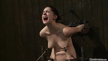 Bolted down slave rides Sybian
