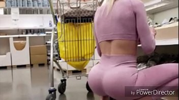 Shopping cart Cam Spying on hot chick in pink yoga pants inside Ikea HOT! Porno indir