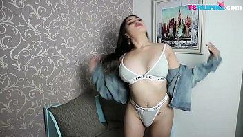 Brunette Hottie TS Filipina Asian Shemale Sensual Masturbation