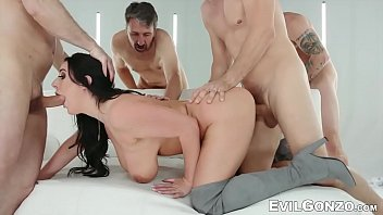 Voluptuous babe enjoys double anal in one nasty gangbang