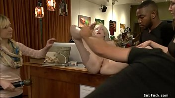 Pale blonde gangbanged in public
