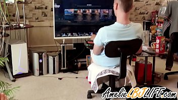 Girlfriend Masturbate Sex Toy Behind Guy Playing Computer