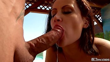 Glamour porn cumshot - Blowjobs by the pool lead to double dick sucking and cumshots for madlin