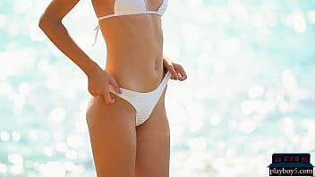 Petite Teen Model Lilit Ariel Outdoor Striptease Of Her Tiny Bikini