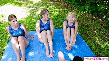 3 Gymnast Bffs Sucking Their Coachs Dick