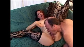 Lusty brunette MILF rides a big white cock then swallows