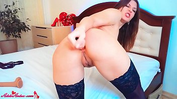 Brunette in Stockings Masturbate All Holes Sex Toys and Cum