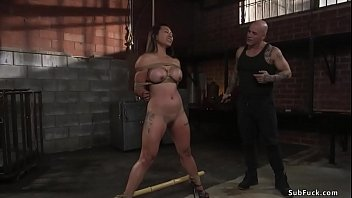 Busty Asian slave whipped and fucked
