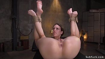 Cutie in inescapable bondage fucked