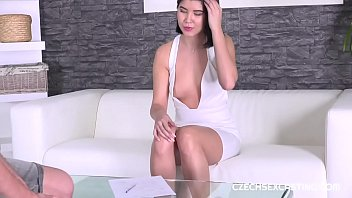 Lady in white gets fucked just right