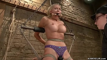 Suspended blonde anal fucked in lezdom
