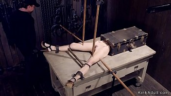 Shackled blonde tormented with stakes