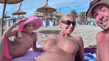Guy Fucks 2 Hot Chicks On Mallorca Holiday 3some